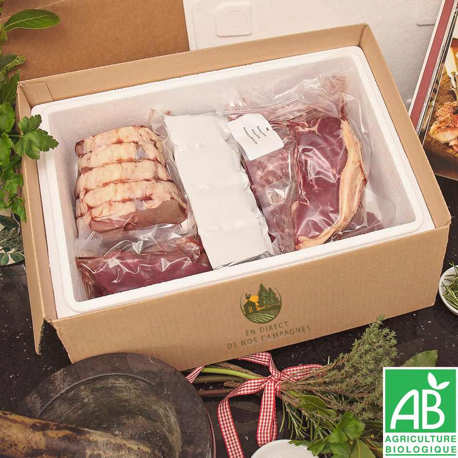 Colis de viandes BIO direct producteur 1kg5 mixte